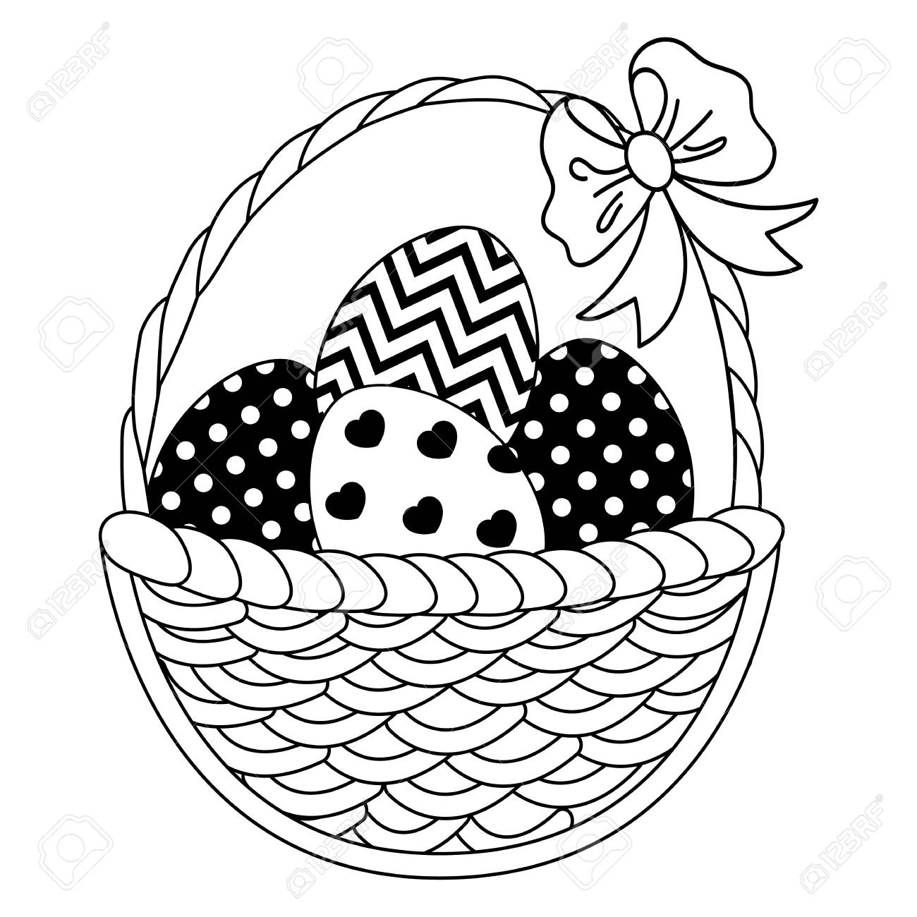 1300x1300 Vector Black And White Wicker Basket With Easter Eggs. Vector