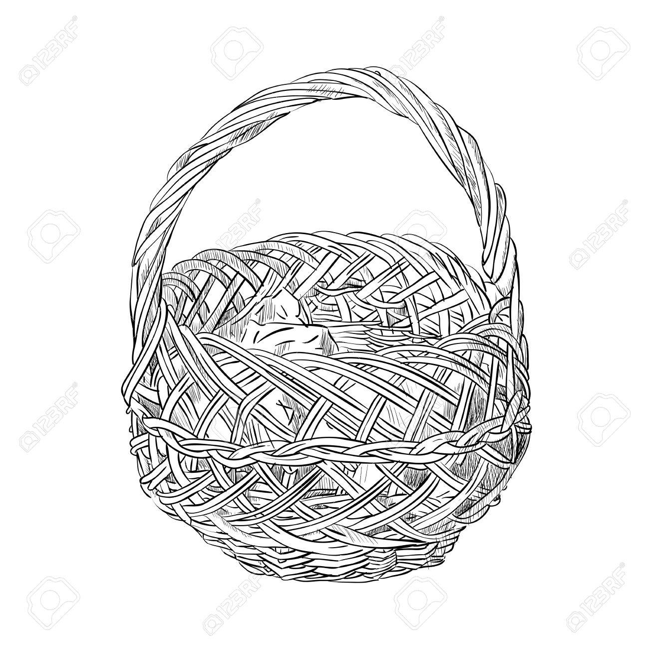 1300x1300 Vector Sketch Of Wicker Basket. Hand Draw Illustration. Royalty