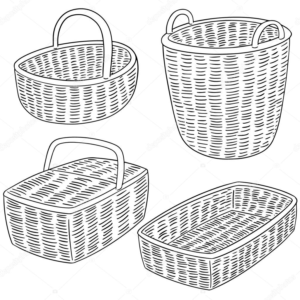 1024x1024 Vector Set Of Wicker Basket Stock Vector