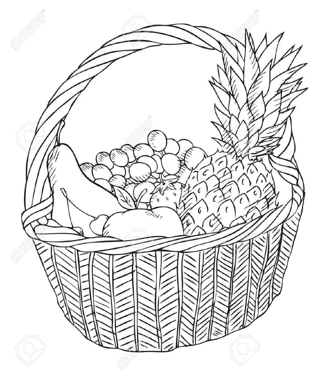 1133x1300 A Basket Of Fruits Drawing A Basket Of Fruits Drawing Coloring
