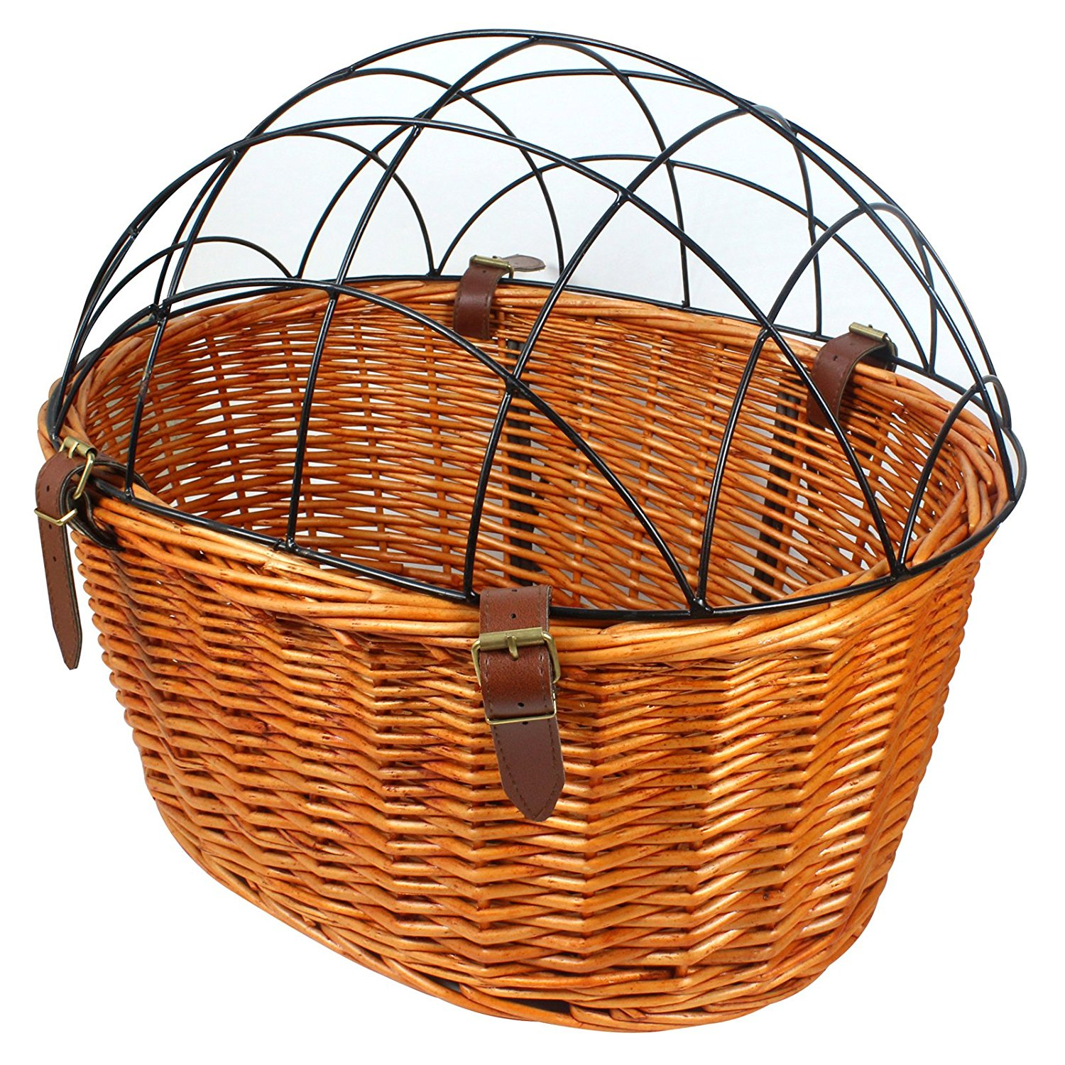 1500x1500 Rural Style Wicker Basket Bicycle Front Pet Cat Dog