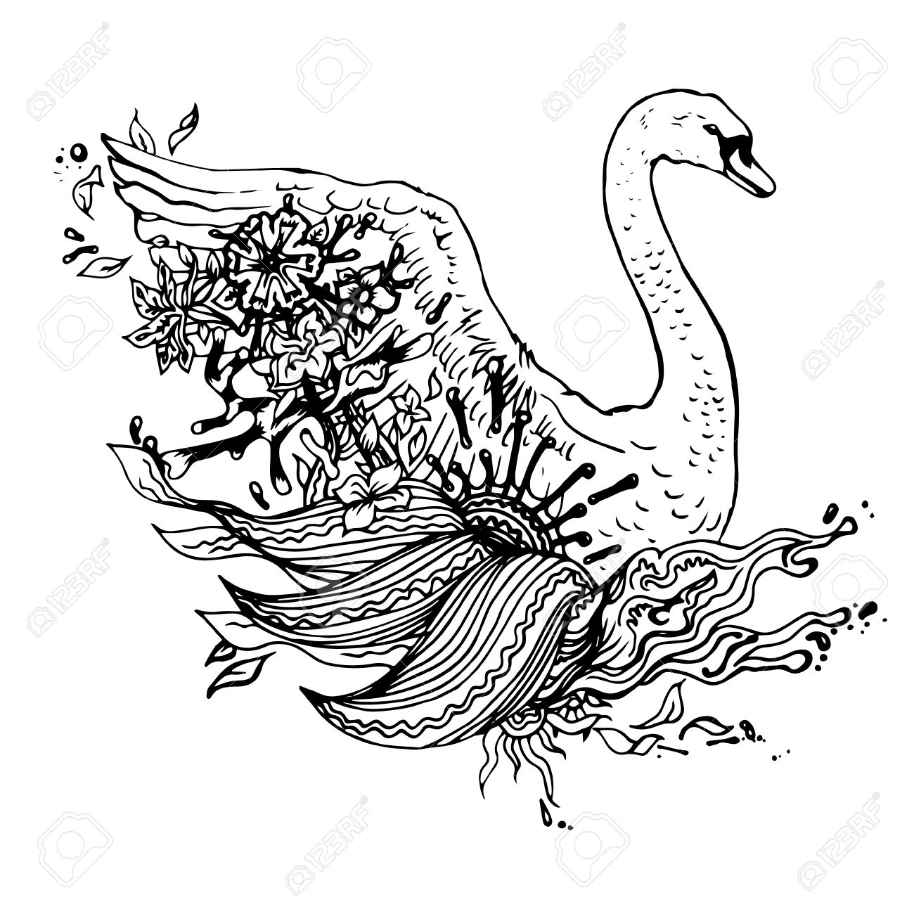 1300x1300 Black And White Swan Isolated. Engraving Sketch. Abstract Vector