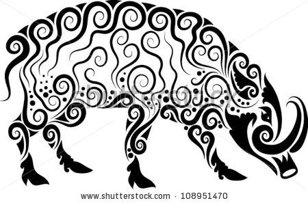 450x297 Wild Boar Ornament Vector. Animal Drawing With Floral Ornament