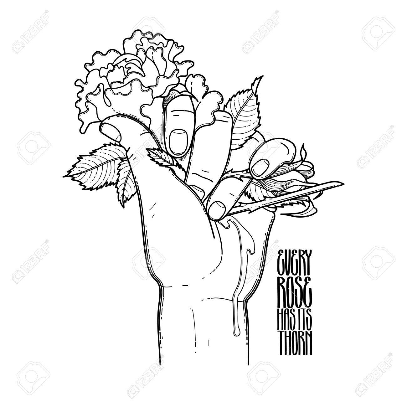 1300x1300 Graphic Bleeding Hand Grasping Wild Rose. Vector Card Isolated