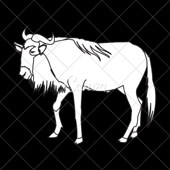 550x550 Wildebeest Animal Illustration