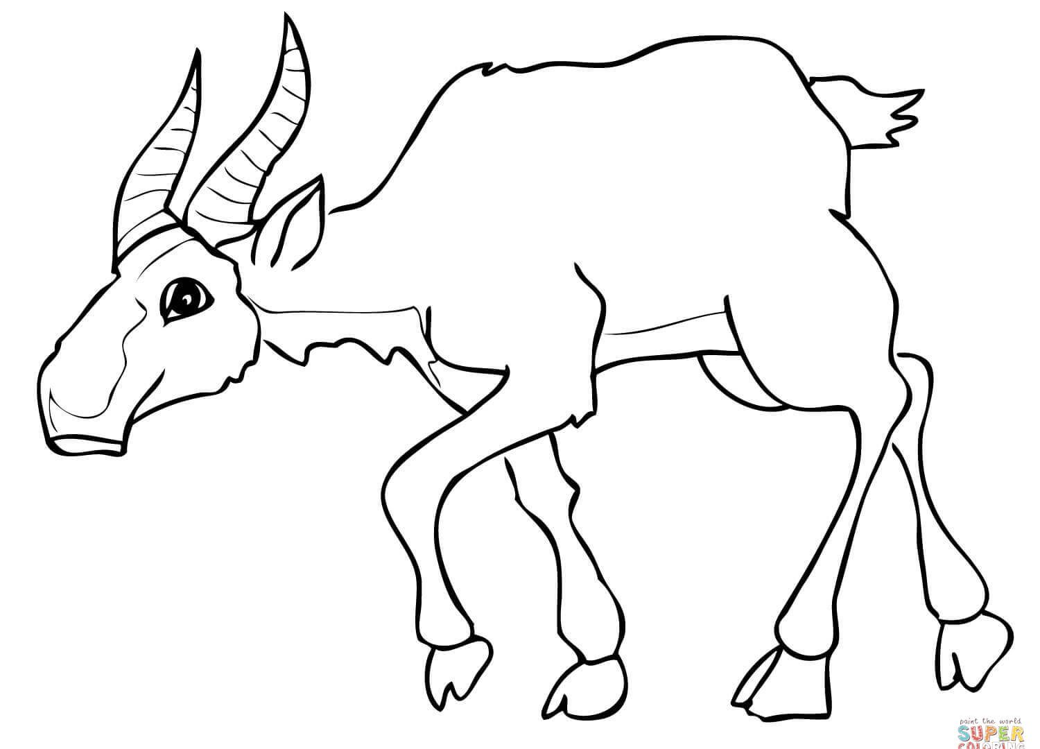 1500x1080 Wildebeest Free Printable Color For Humorous Coloring Draw Blue
