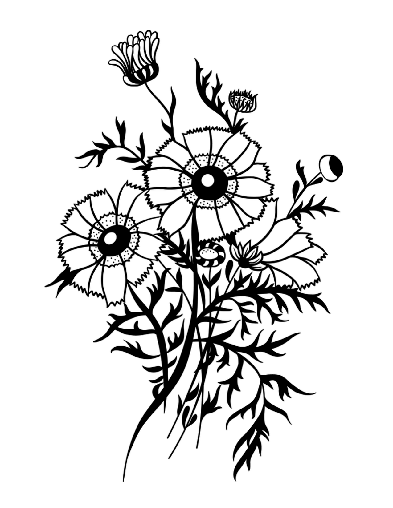 Wildflower Bouquet Drawing at GetDrawings.com | Free for personal ...