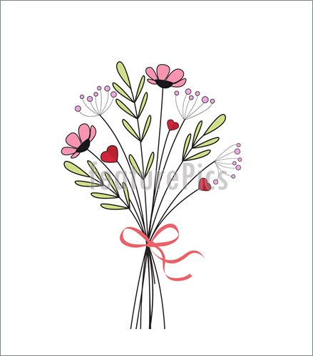 439x500 Bouquet Of Meadow Flowers Stock Illustration I5400839