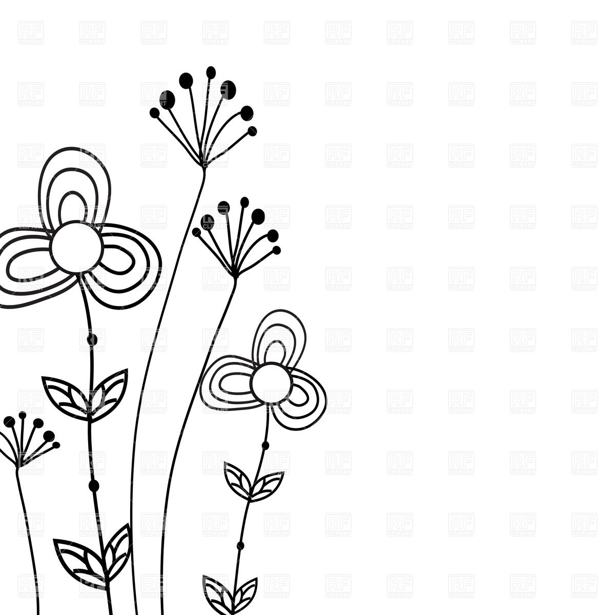 1200x1200 Stylish Wildflowers In Simple Line Style Royalty Free Vector Clip