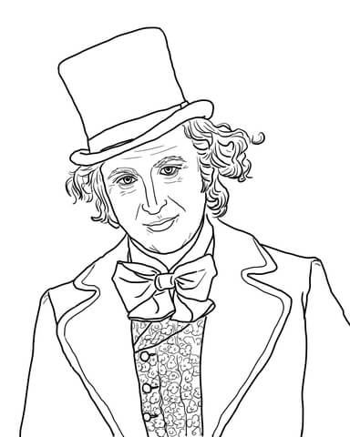 384x480 Willy Wonka With Gene Wilder Coloring Page Free Printable