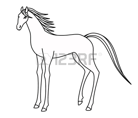 450x386 Drawing Of A Horse Standing Stock Photo, Picture And Royalty Free