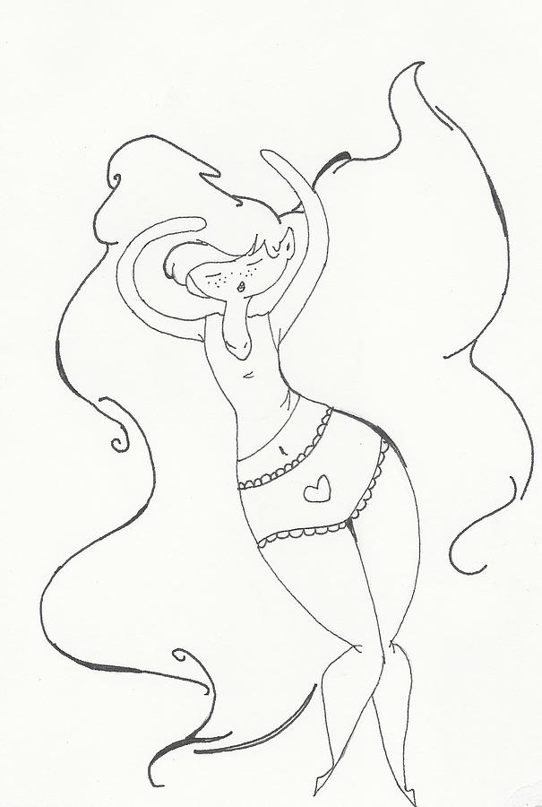 605x900 Hair Blowing In The Wind Drawing By Michelle Cruz