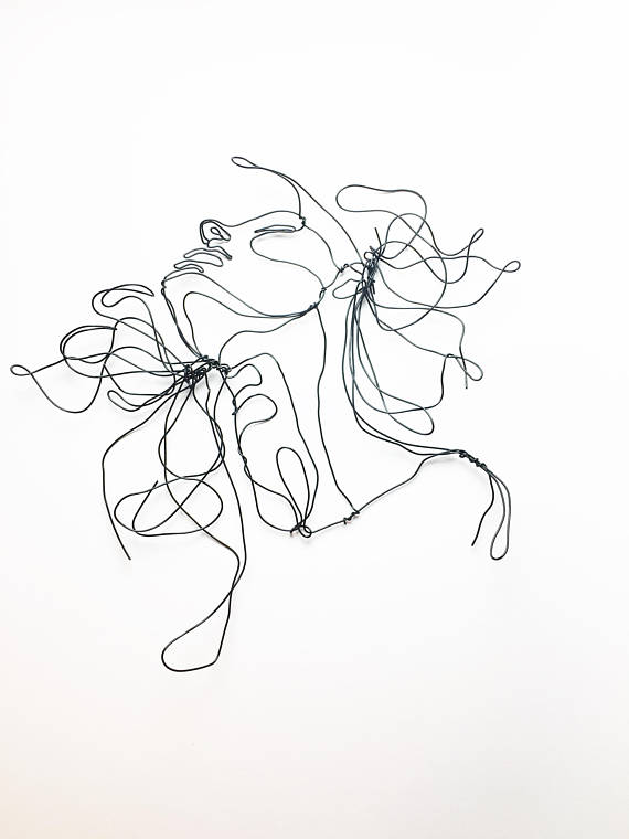 570x760 Wire Sculpture Profile Hair Blowing In The Wind Female