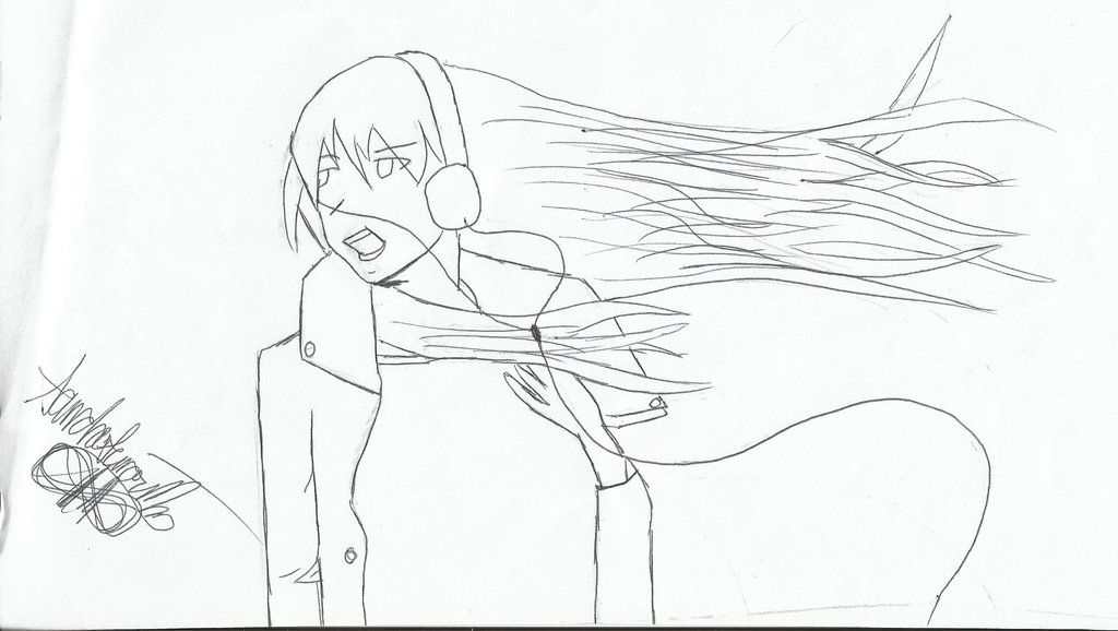 1024x578 Anime Girl With Hair Blowing In Wind By Sondreara