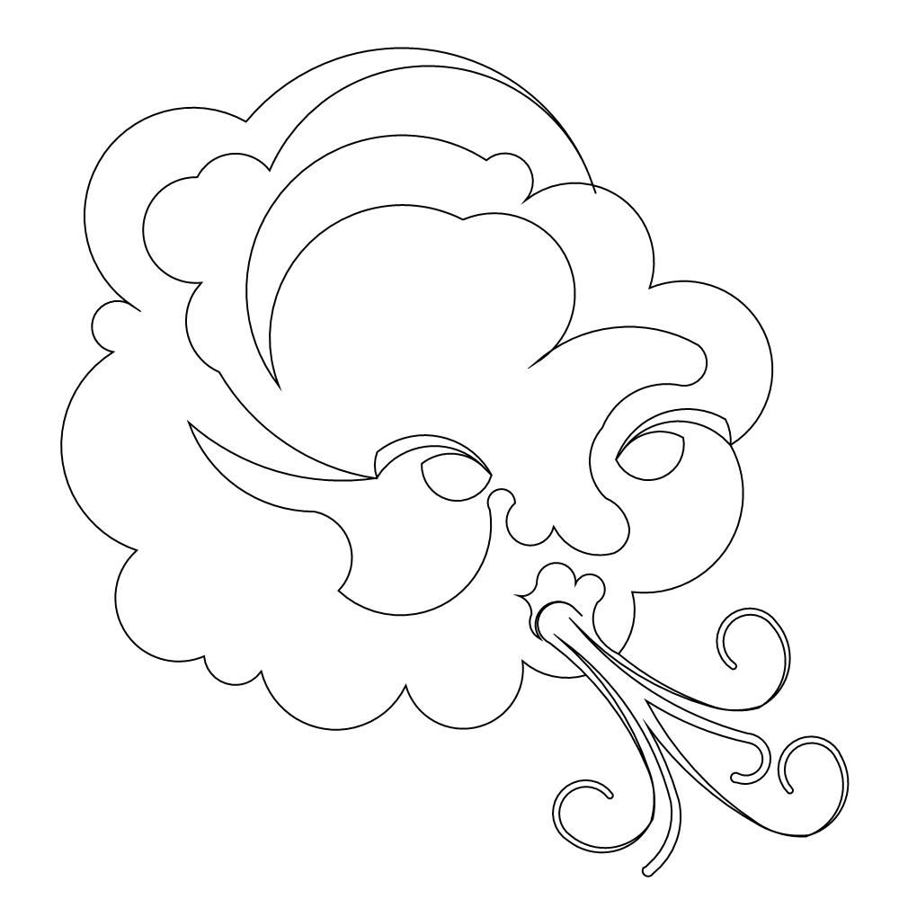 1000x1000 Blowing Wind Clipart