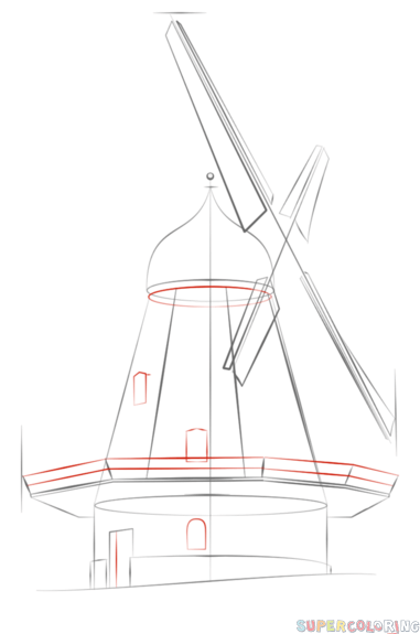 381x575 How To Draw A Windmill Step By Step. Drawing Tutorials For Kids