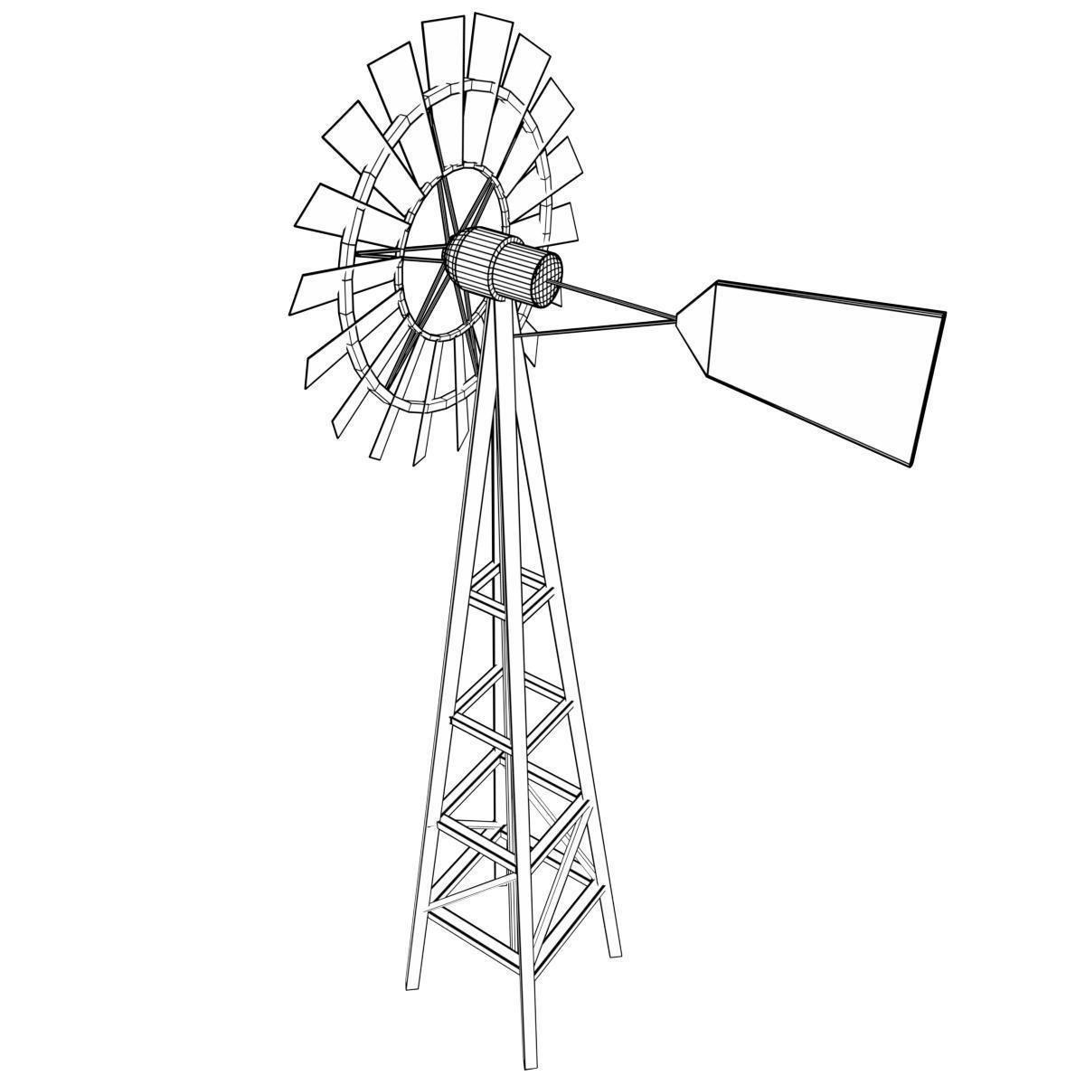 1200x1200 3d Asset Vr Ar Ready Windmill Cgtrader