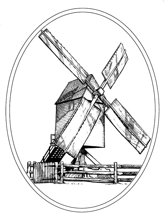 675x900 Williamsburg Windmill Drawing By Paul Abrahamsen