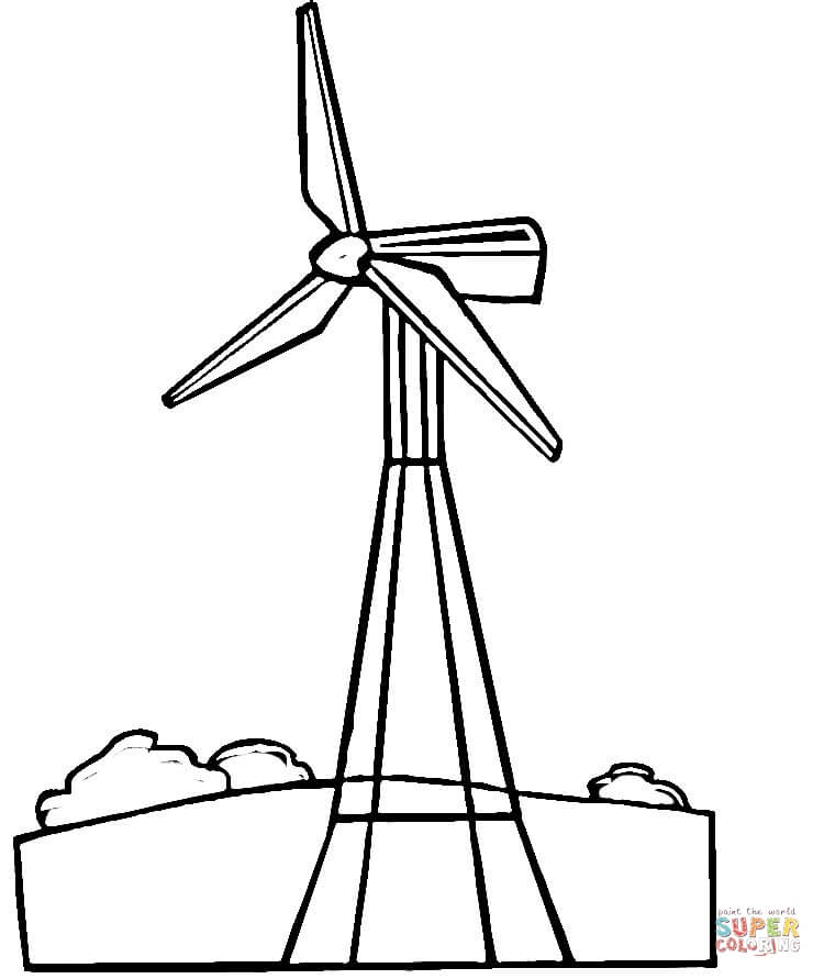 750x891 Wind Turbine Coloring Page Free Printable Coloring Pages