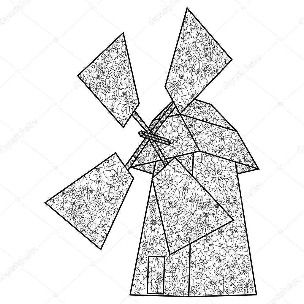 1024x1024 Wind Mill Coloring Book For Adults Vector Stock Vector