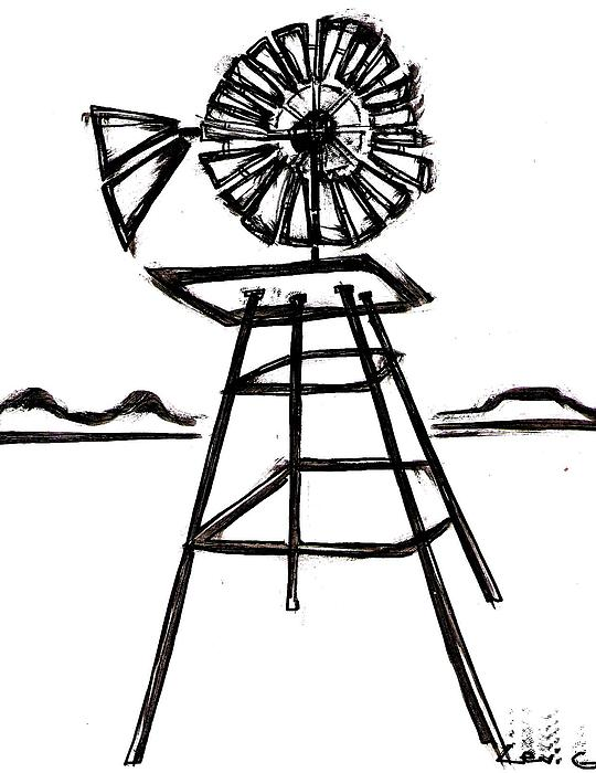 540x700 Windmill Drawing By Levi Glassrock