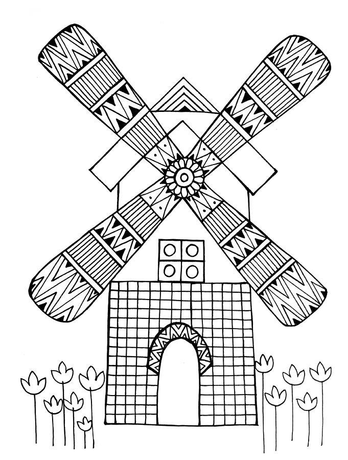 681x900 Windmill Drawing By Neeti Goswami