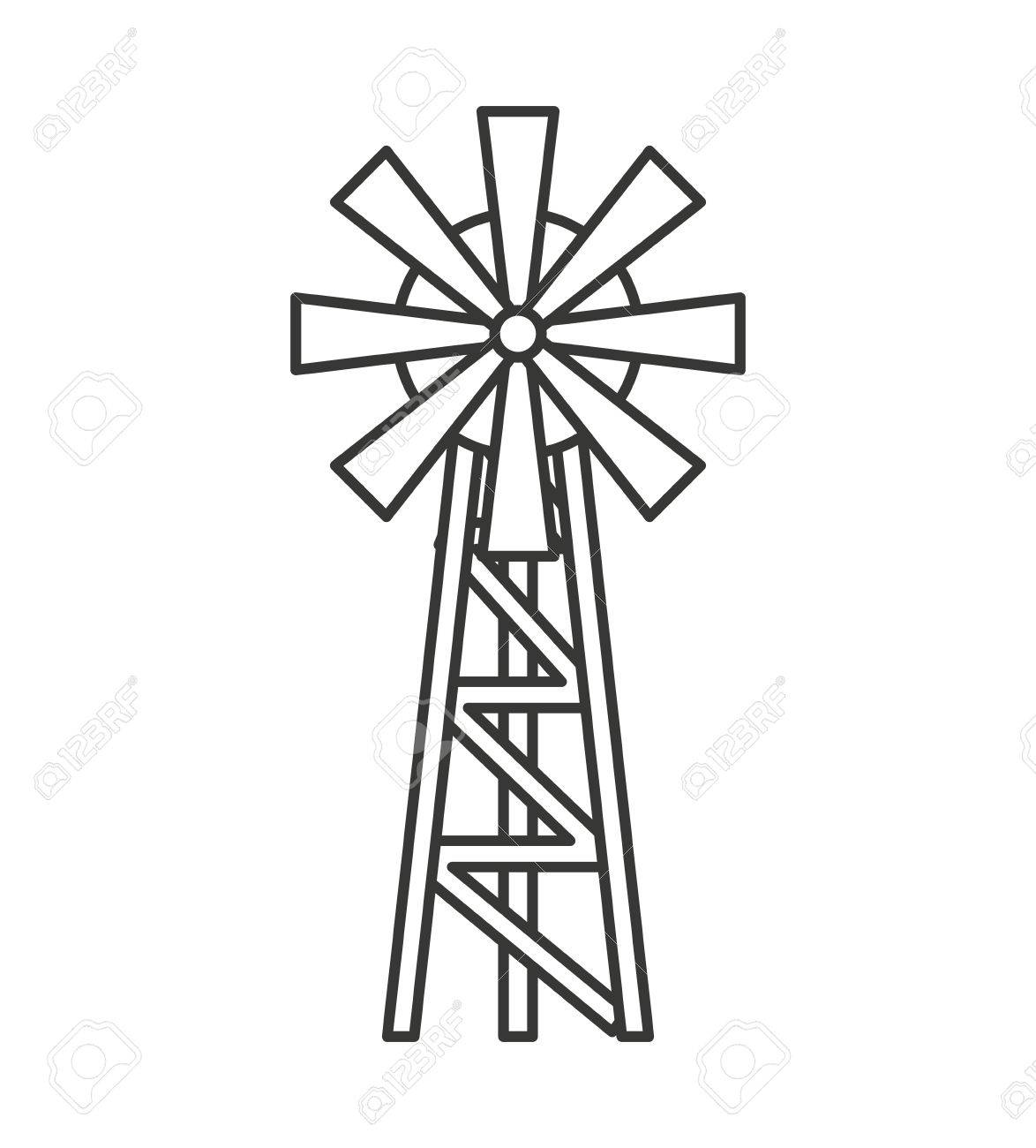 farm windmill drawing. 1174x1300 Windmill Farm Isolated Icon Vector Illustration Design Royalty Drawing S