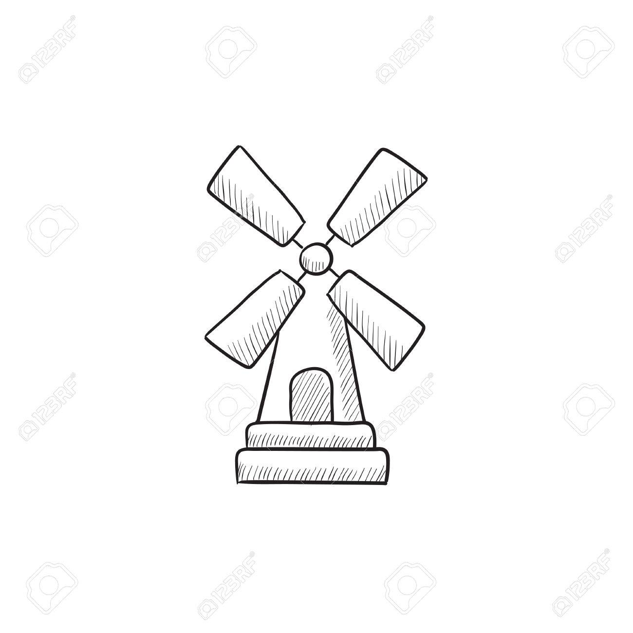 1300x1300 Windmill Vector Sketch Icon Isolated On Background. Hand Drawn
