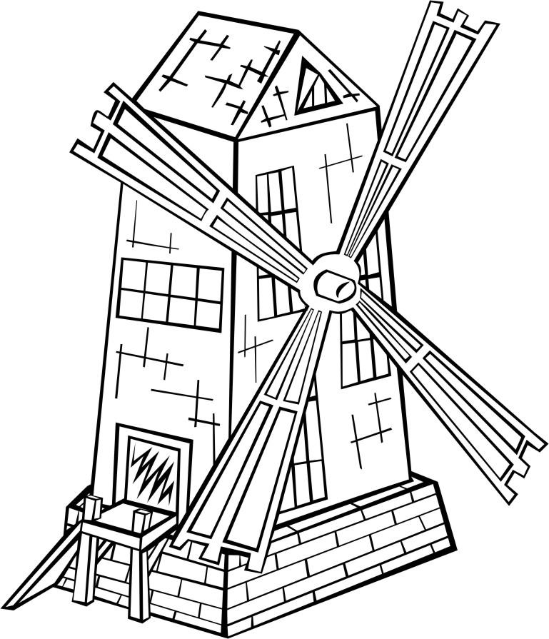 769x895 Coloring Page Windmill