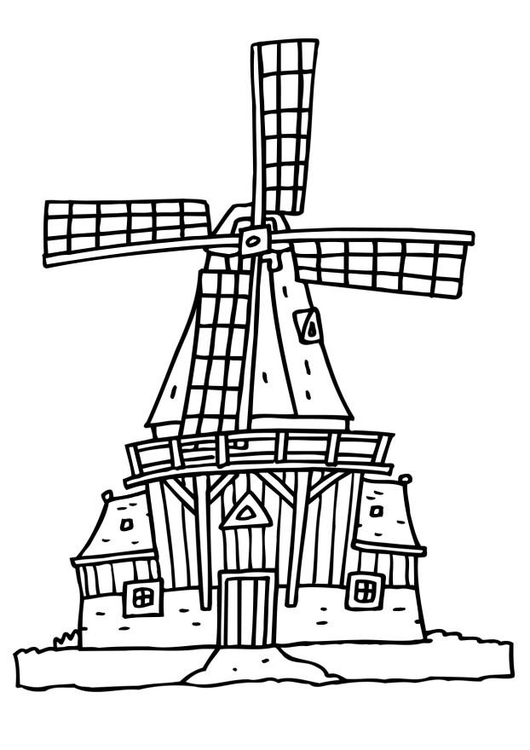 530x750 Coloring Page Wind Mill