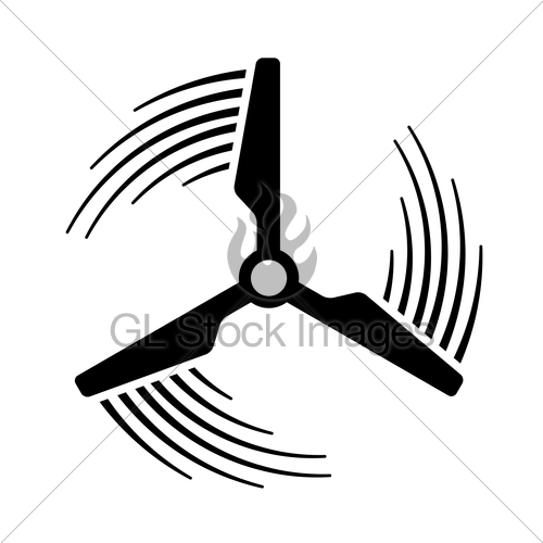 500x500 Wind Power Plant Propeller Motion Line Symbol Gl Stock Images