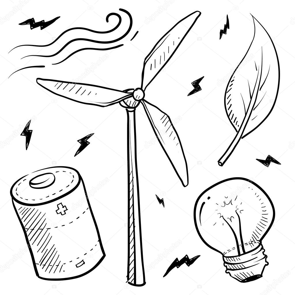 1024x1024 Wind Power Objects Sketch Stock Vector Lhfgraphics