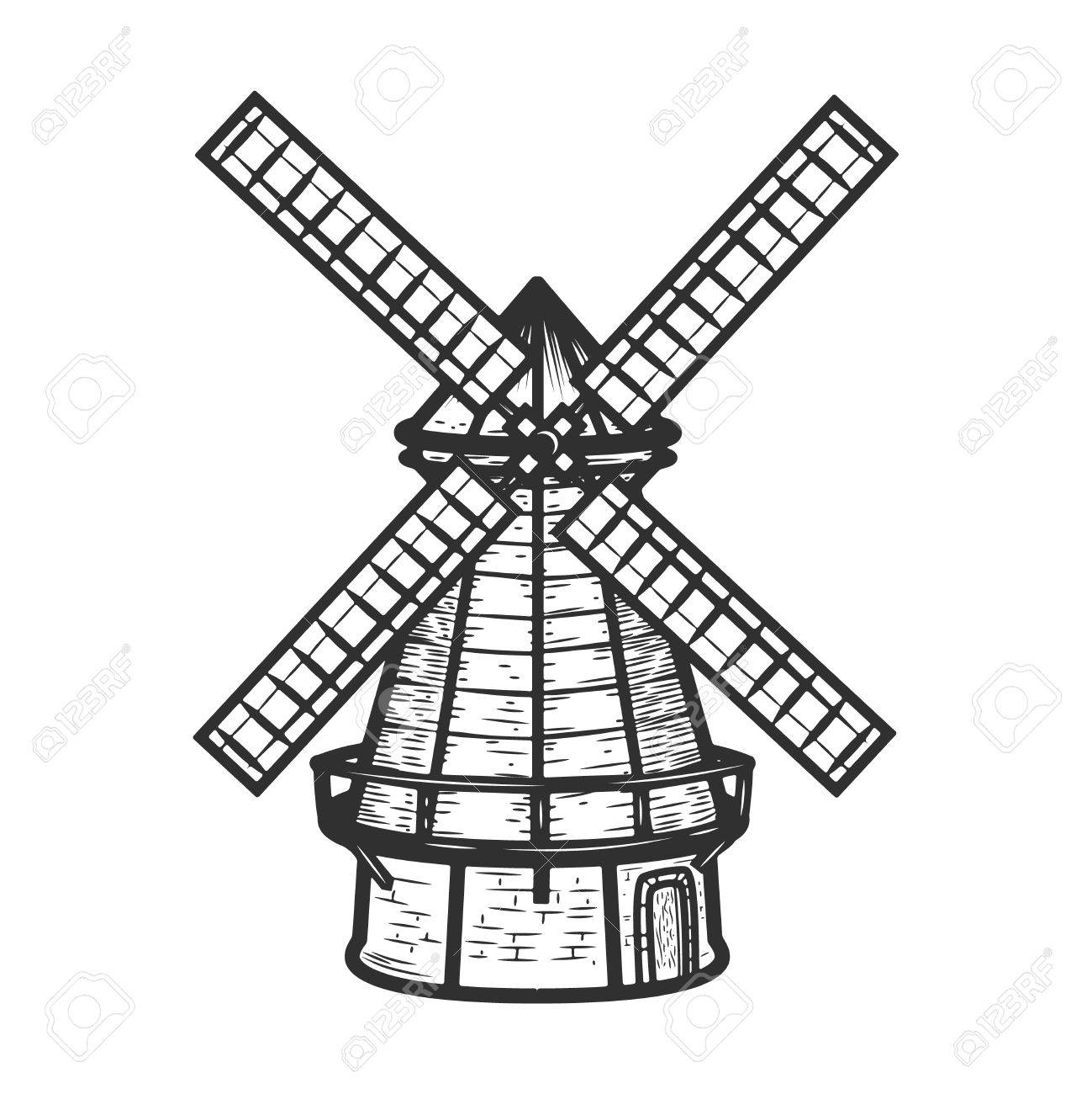 1299x1300 Windmill Illustration Isolated On White Background Background