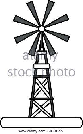 291x470 Windmill Illustration Vector Line Icon, Sign, Illustration