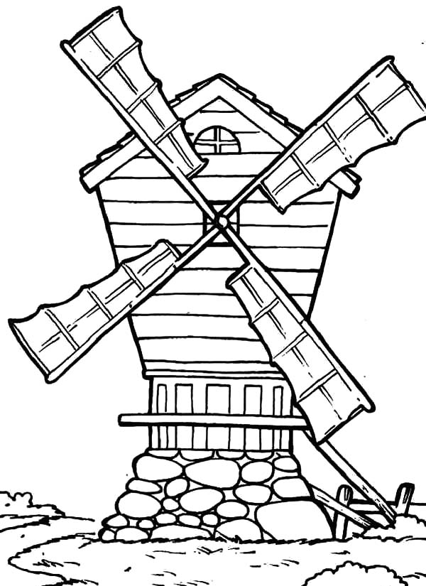 600x825 Country Windmills Coloring Pages Batch