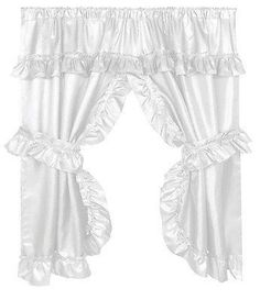 236x273 Ruffled Window Curtain With Valance, Linen Valance, Window