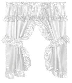 236x273 Ruffled Window Curtain with Valance, Linen Valance, Window