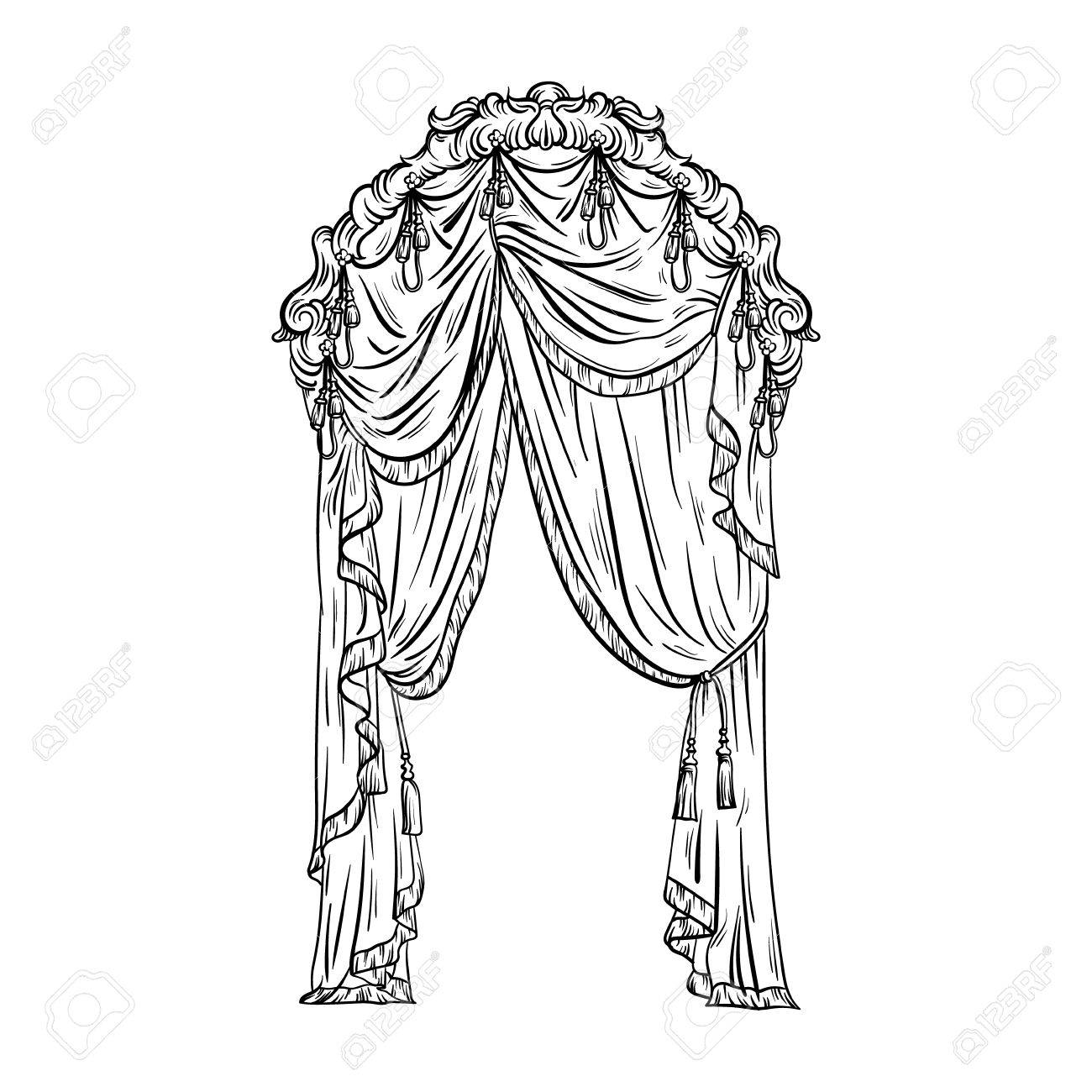 1300x1300 Vector Hand Drawn Illustration Of Window Curtain Made In Sketch