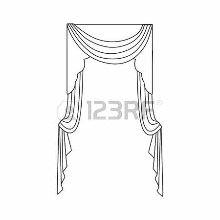 450x450 Window Curtains Design Sketch Royalty Free Cliparts, Vectors, And
