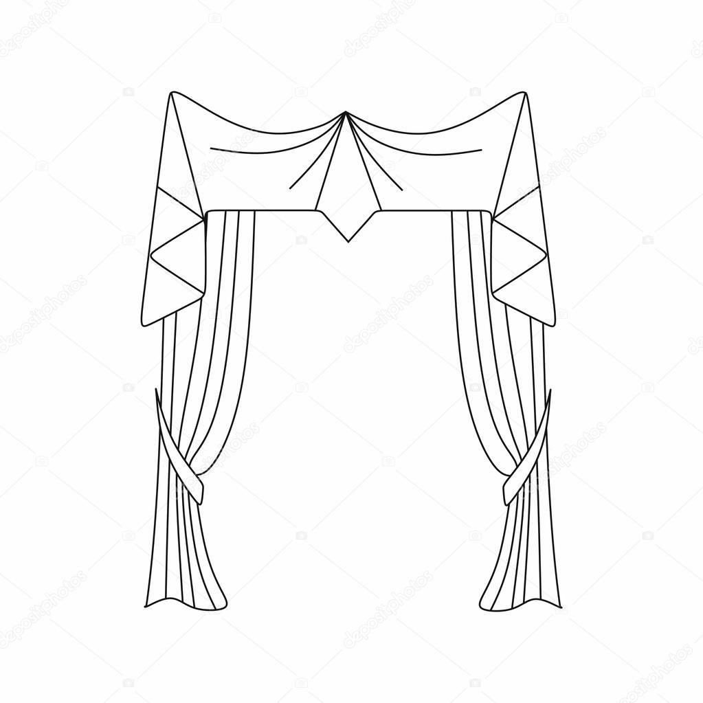 1023x1023 Curtains Interior Design Sketch.window Curtains Stock Vector