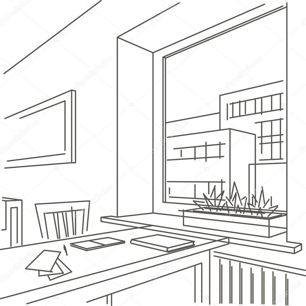 1024x1024 Linear Sketch Interior Of Workspace Near The Window Stock Vector