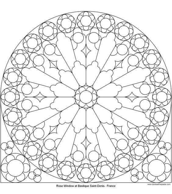 564x634 Many Different Rose Window Templates! Notre Dame, St. Denis, Etc