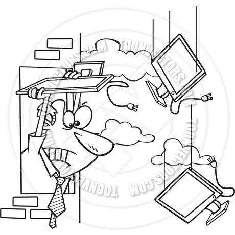 460x460 Cartoon Man Throwing Computer Monitor Out Window (Black Amp White