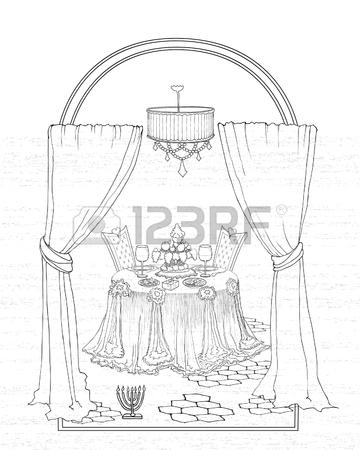 Window With Curtains Drawing