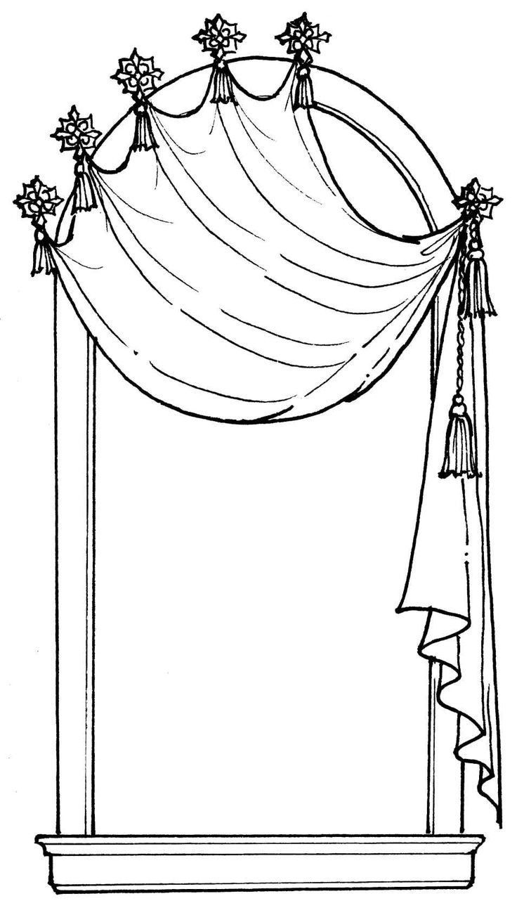 window with curtains drawing at getdrawings com