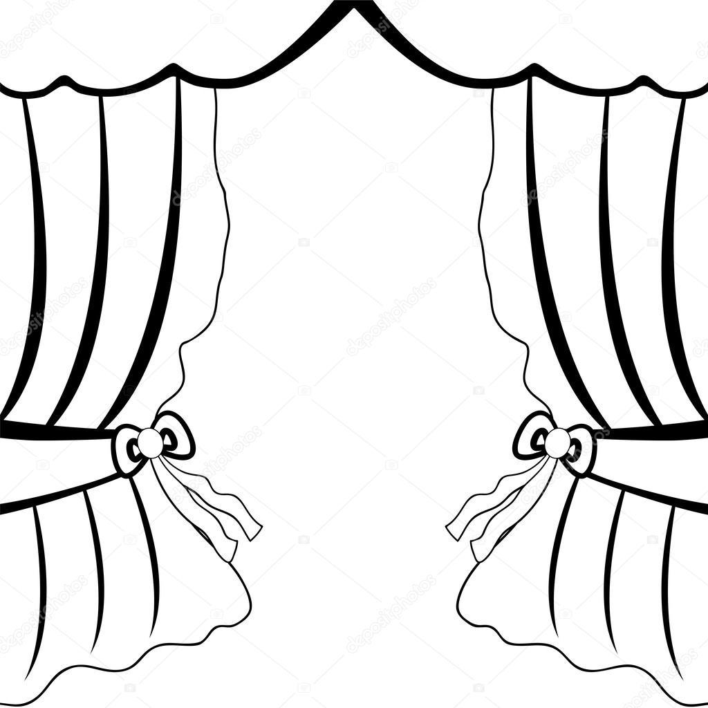 1024x1024 Open Curtains Stock Vector Pavlentii