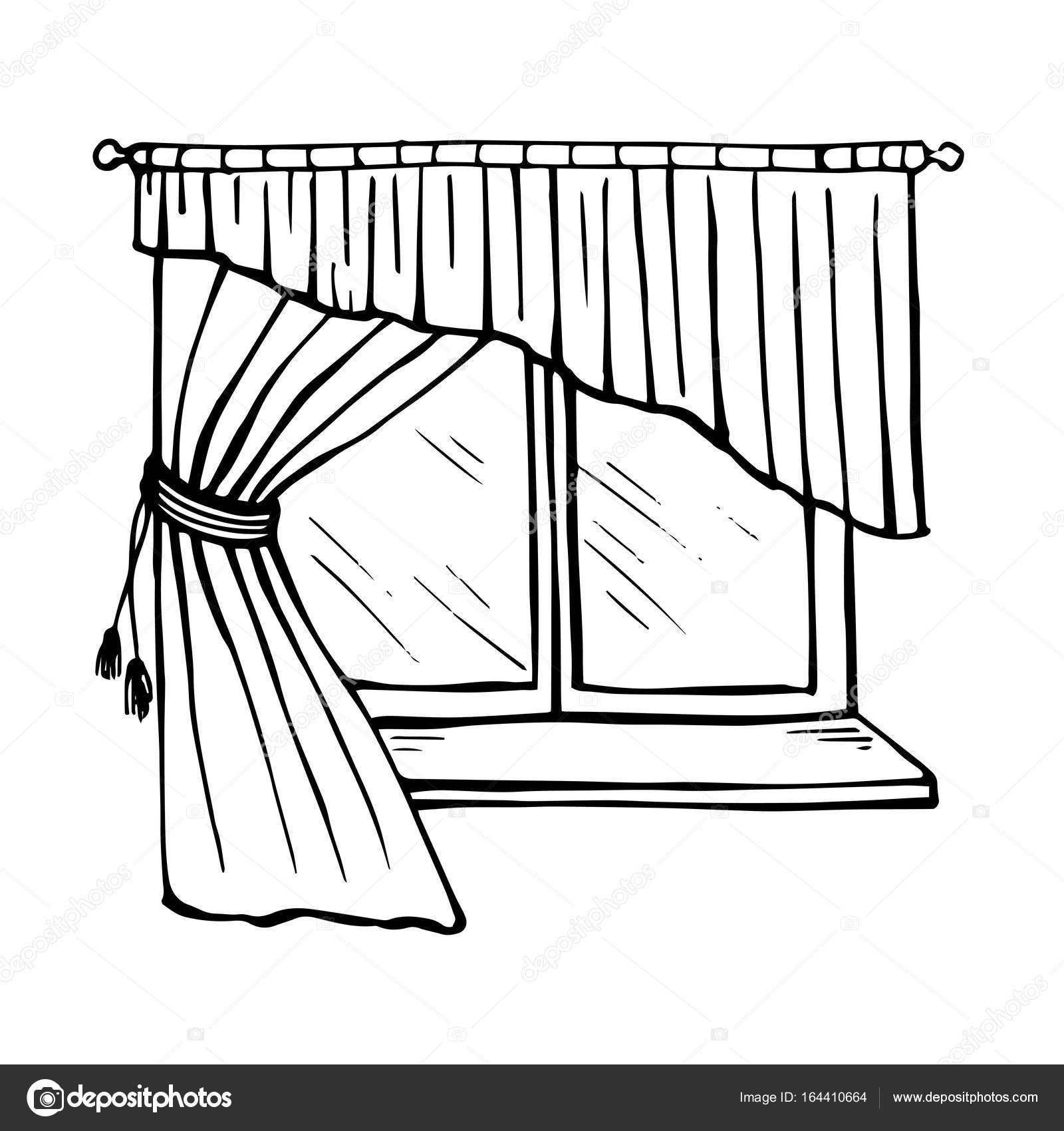 Window With Curtains Drawing At Getdrawings Com Free For