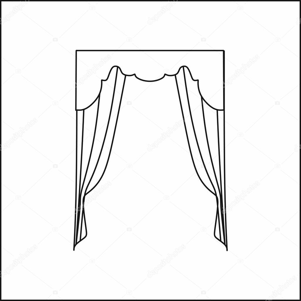 1024x1024 curtains Interior design sketch.Window curtains — Stock Vector