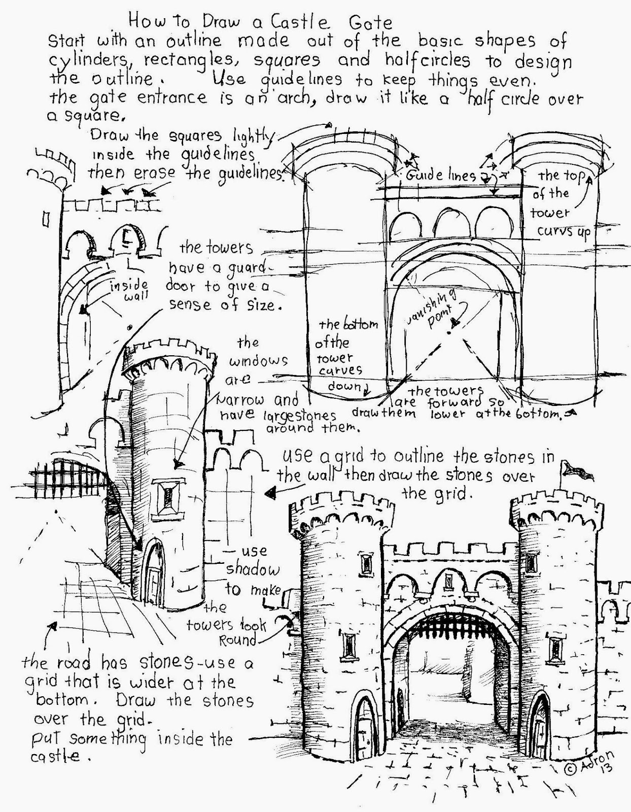 1244x1600 How To Draw Worksheets For The Young Artist How To Draw A Castle
