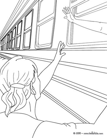 364x470 Train Scene With People Saluting By The Windows Inside Coloring